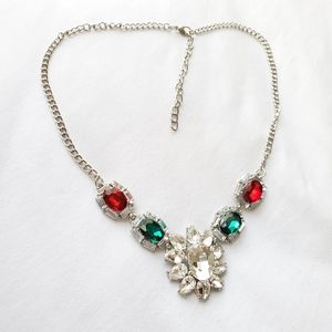 Crystal necklace silver emerald green and ruby red